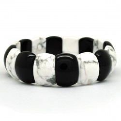 Howlite et Onyx, Bracelet rectangle de Pierre