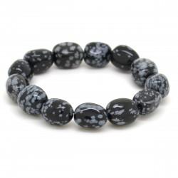 Bracelet Pierre roulée Obsidienne mouchetée