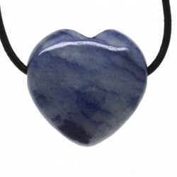 Quartz bleu, Pendentif Coeur Pierre