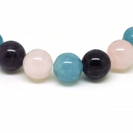 Bracelet 3 pierres, perles de 1,2 cm