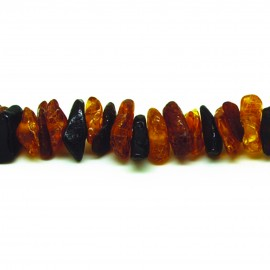 Collier Ambre, chips polis multicolores (foncé)