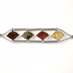 Bracelet Ambre multicolore Mélinda, Argent 925