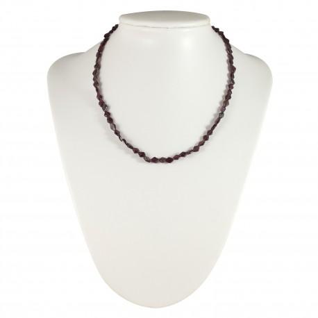Collier perles losange en grenat