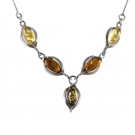 Collier ambre ovale, argent 925