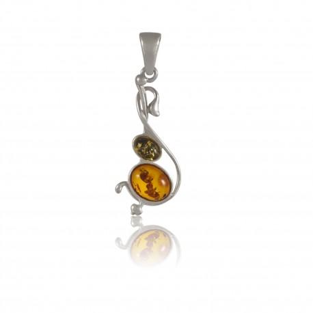 Pendentif ambre deux couleurs et argent