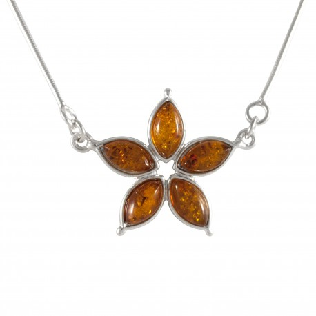 Collier fleur ambre