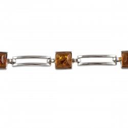 Bracelet Ambre cognac Véronique, Argent 925