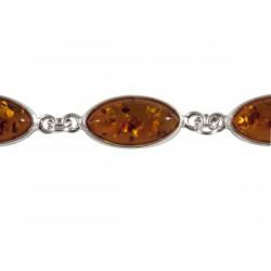 Bracelet Ambre cognac Leane, Argent 925