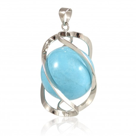 Pendentif spirale turquoise