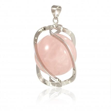 Pendentif spirale quartz rose