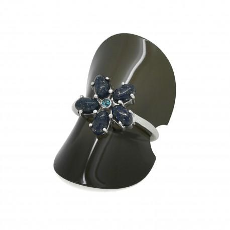 Bague Pierre, fleur de Lapis Lazuli