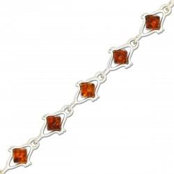 Ambre naturel et Argent, Bracelet Salma