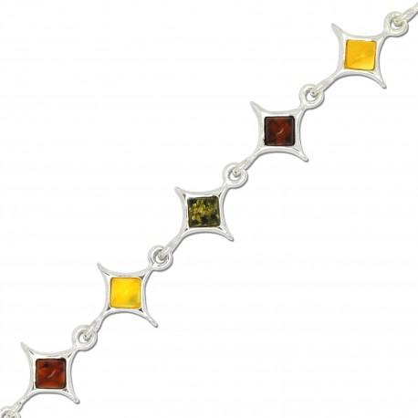 Ambre naturel et Argent, Bracelet Sandrine