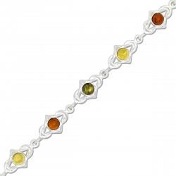 Bracelet Magalie, Ambre naturel et Argent