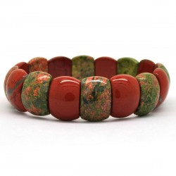 Unakite et Jaspe rouge, Bracelet rectangle de Pierre