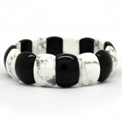 Howlite et Onyx, Bracelet rectangle de Pierre
