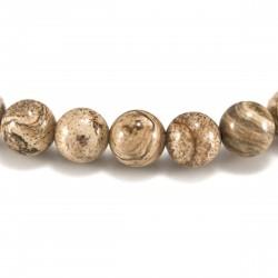 Bracelet Jaspe paysage, perles 8 mm