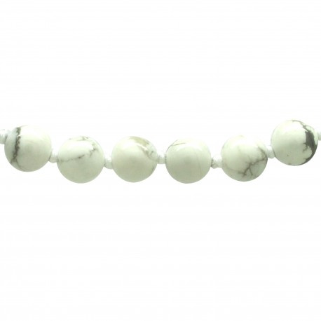Collier Pierre, perles 8 mm, Howlite