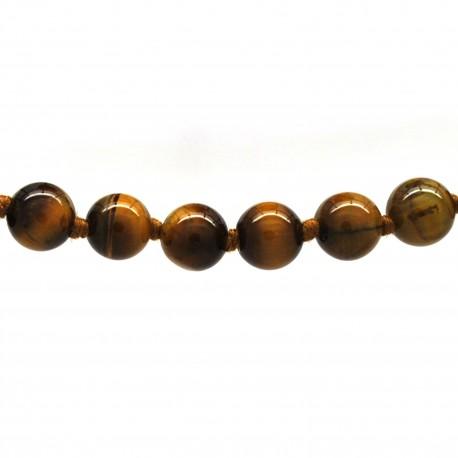 Collier Pierre, perles 8 mm, œil de tigre