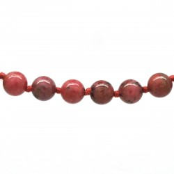 Collier Pierre, perles 8 mm, Rhodonite