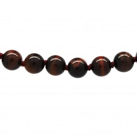 Collier Pierre, perles 8 mm, œil de taureau