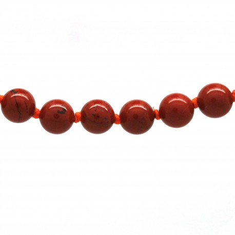 Collier Pierre, perles 8 mm, Jaspe rouge