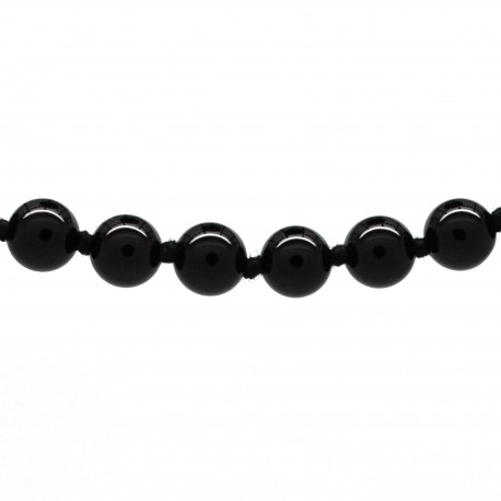 Collier Pierre, perles 8 mm, Onyx