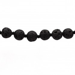 Collier Pierre, perles 8 mm, Lave