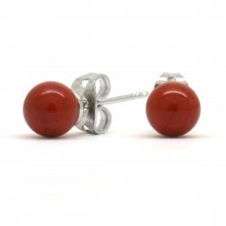 Boucles Pierre, Jaspe rouge, puces 6 mm