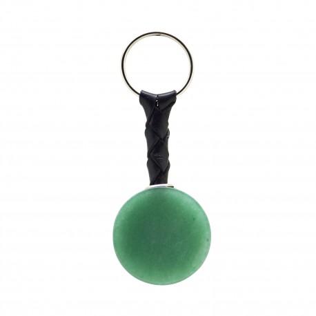 Porte-clés Pierre, disque d'Aventurine verte