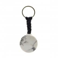 Porte-clés Pierre, disque d'Howlite blanche