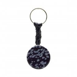 Porte-clés Pierre, disque d'Obsidienne mouchetée