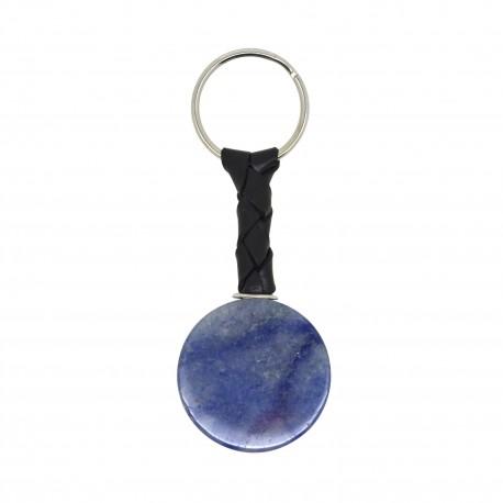 Porte-clés Pierre, disque de Quartz bleu