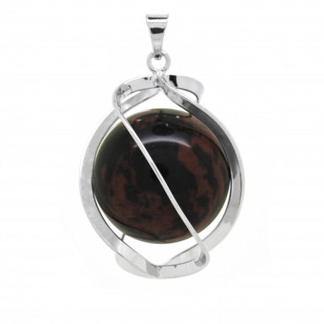 Pendentif Pierre, spirale d'Obsidienne acajou