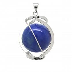 Pendentif Pierre, spirale d'Aventurine bleue