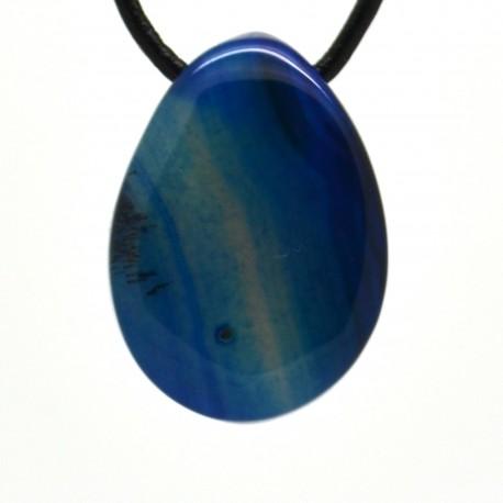 Pendentif Pierre roulée Agate bleue