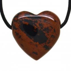 Obsidienne acajou, Pendentif Coeur Pierre