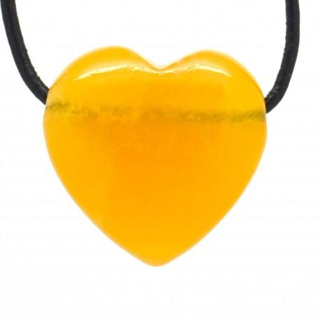 Calcite orange, Pendentif Coeur Pierre