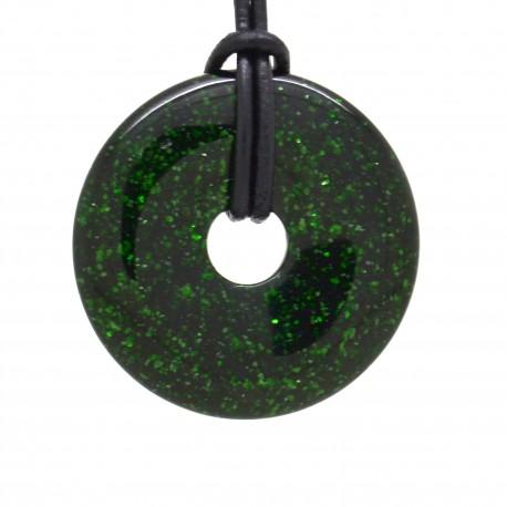 Pierre de soleil verte, donuts pierre 40 mm