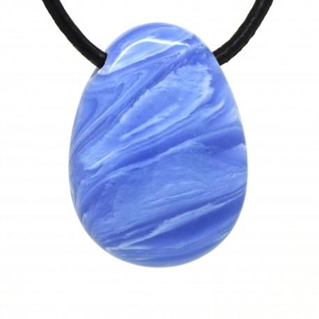 Pendentif Pierre trouée, Agate blue lace