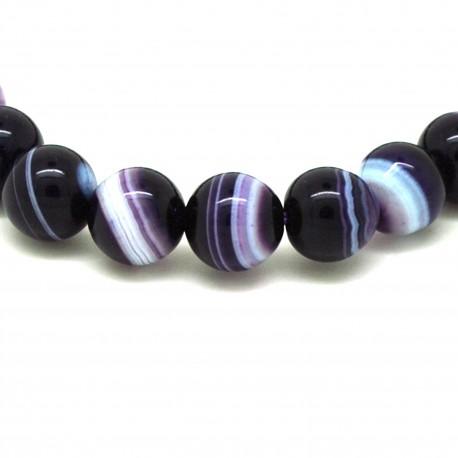 Bracelet Pierre, perles d'Agate lilas