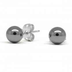 Boucles Pierre, Hématite, puces 6 mm