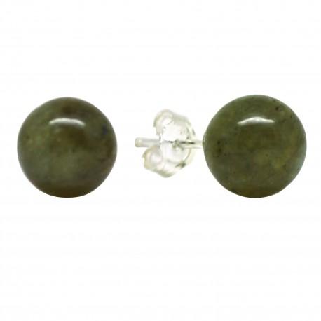 Boucles Pierre clous de Labradorite, Argent 925