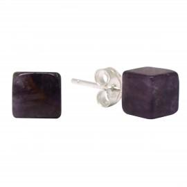 Boucles Pierre, cube d'améthyste, Argent 925