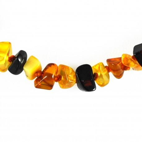 Collier Ambre, cubes multicolores