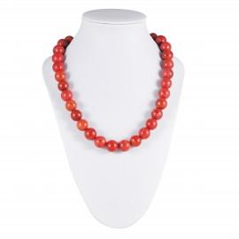 Collier perles de corail rouge teinté
