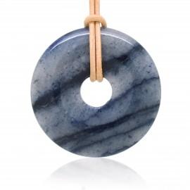 Donuts Pierre rond, Quartz bleu 40 mm