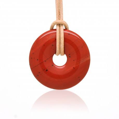 Donuts Pierre, rond de Jaspe rouge 30 mm