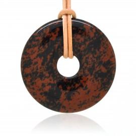 Obsidienne acajou, Donuts en Pierre 40 mm