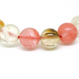 Bracelet perles 12 mm, quartz melon